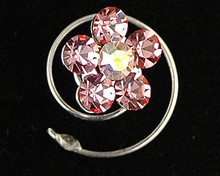 Pink Austrian Crystal Flower Hair Jewel  - Spiral