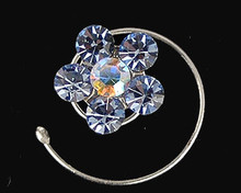 Blue Austrian Crystal Flower Hair Jewel  - Spiral