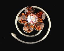 Smokey Topaz Austrian Crystal Flower Hair Jewel  - Spiral (brown