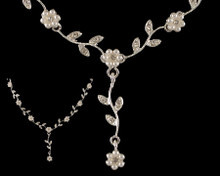 White Pearl and Crystal Flower Drop Necklace