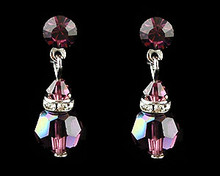 Eggplant crystal dangle earrings  (purple)