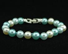 Light Blue, Aqua and White Pearl Bracelet