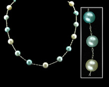 Light Blue, Aqua and White Pearl Necklace
