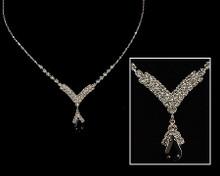 Black and Rhinestone V drop Necklace