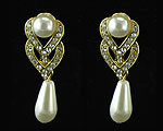 Gold and Ivory Pearl Drop Earring to Match Necklace