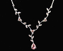 Pink Leaf and Tear Drop Silver Flower Necklace