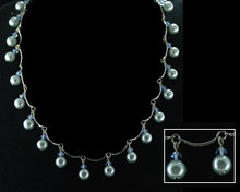 Light Blue Pearl and Crystal Necklace