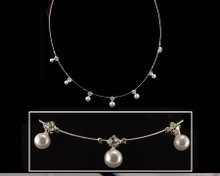White Pearl & Austrian Crystal Dainty Silver Wire Necklace