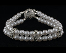 Double Strand White Pearl Bracelet with Crystals & Flower Clasp