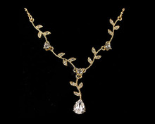 Gold Pear and Leaf Drop Necklace with Clear Crystals