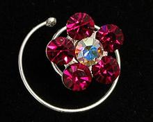 Magenta Austrian Crystal Flower Hair Jewel - Spiral (pink)