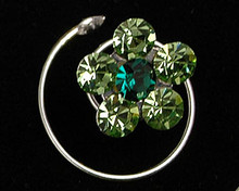 Light and Dark Green Austrian Crystal Flower Hair Jewel - Spiral