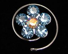 Baby Blue Austrian Crystal Flower Hair Jewel - Spiral