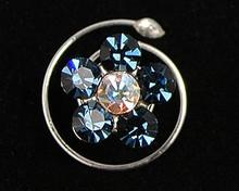 Navy Blue Austrian Crystal Flower Hair Jewel - Spiral