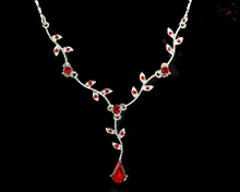 Red Crystal Pear and Leaf Drop Necklace