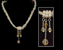 Yellow and White Ribbon Necklace with Pearl and Crystal Detail