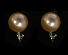 Ivory 10mm Clip-On Pearl Stud Earrings