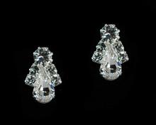 Simple Silver and Crystal Teardrop Earrings