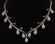 Shooting Star Necklace: Wispy Silver & White Pearl Branches