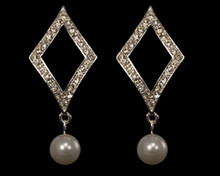White Pearl and Crystal on Silver Diamond Shape Earring