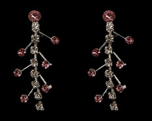 Snazzy Pink and Clear Crystal Multi Tier Silver Earring