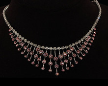 Snazzy Pink and Clear Crystal Multi Tier Silver Necklace