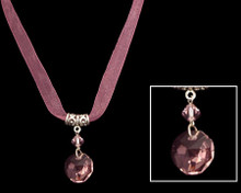 Light Amethyst (purple) Crystal on Necklace with Silver