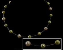 Lime Green, Light Citrus Lime and White 8mm Pearl Necklace on Si