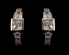 Princess Cut CZ Earring (Cubic Zirconia) Matches Ring