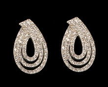 3 Row Tear Drop Earrings in Silver