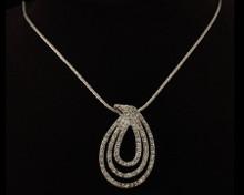 Multi Row Tear Drop Necklace in Silver