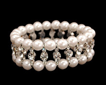 White Pearl, Rhinestone and Silver Bracelet