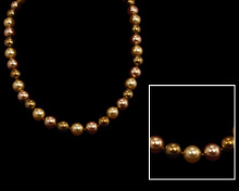 Light Gold, Taupe and Bronze Pearl Necklace (10mm) (brown)