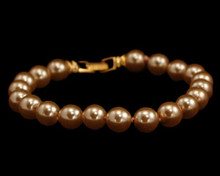 Light Gold Pearl  8mm Bracelet with Gold Clasp (Brown)