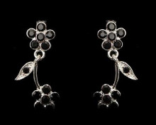Silver Flower and Black Fantasy Earrings with Rhinestone