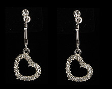 Suspended Side Heart Earring with Clear Crystals on Silver
