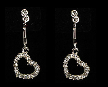 Silver Black Crystal jewelry necklace earring set Trendy/Hearts