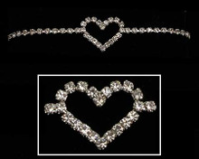 Crystal and Silver Heart Bracelet