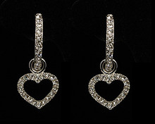 Suspended Crystal Heart from Crescent Silver Earring
