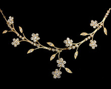 Gold Flower Fantasy Necklace with Rhinestones