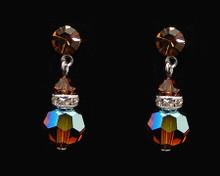 Brown Crystal Earrings with Silver (Medium)