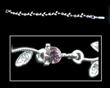 Lavender Crystal and Silver Flower Bracelet (purple)