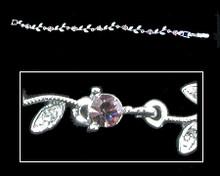 Lavender Crystal and Silver Flower Bracelet (purple)
