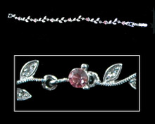 Pink Crystal and Silver Flower Bracelet