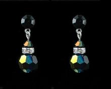 Black Crystal Earrings with Silver (Medium)