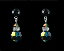 Black Crystal Earrings with Silver (Medium)