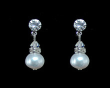 White Pearl and Clear Crystal Earrings with Silver (Medium)
