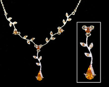 Smokey Topaz Crystal Pear and Leaf Drop Necklace (brown)