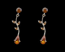 Smokey Topaz Crystal Pear and Leaf Earrings (brown)