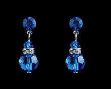 Electric Blue Crystal Earrings with Silver (Medium)